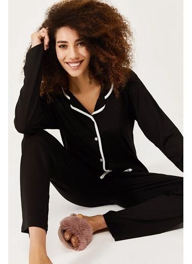XHAN Bebek Pembesi Çizgili Pamuklu Örme Pijama Takımı  Siyah